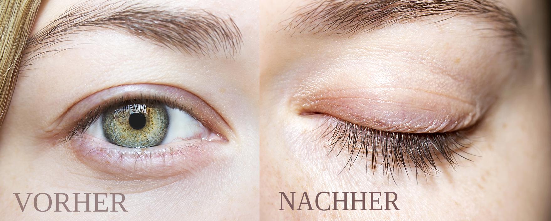 Wimpernserum Nanolash – Wimpern vor und nach der Behandlung
